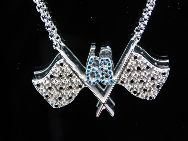 Diamond 68 flag necklace