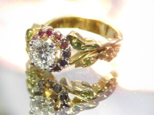 A gold designed diamond ring