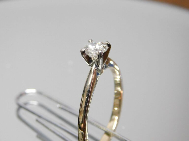 After cleaning gold diamond ring