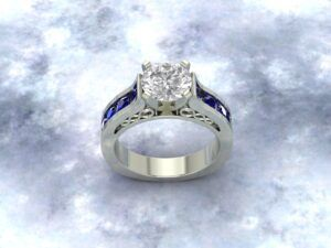 Blue silver ring with diamond