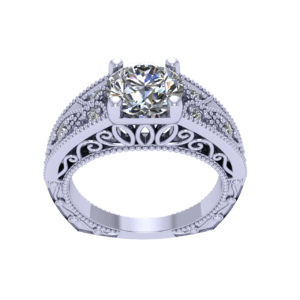 Silver Gold Ring With Diamonds