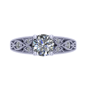 Top view of a silver diamond ring